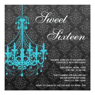 "Teal Chandelier Black Damask Sweet 16 Birthday 5.25"" Square Invitation Card"