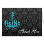 Teal Chandelier Black Damask Thank You Note Stationery Note Card