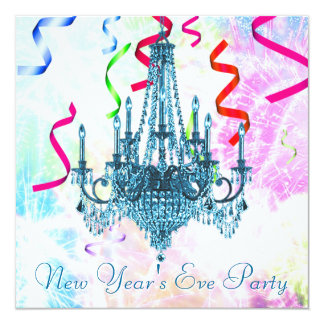 Teal Chandelier Confetti Fireworks New Years Eve Card