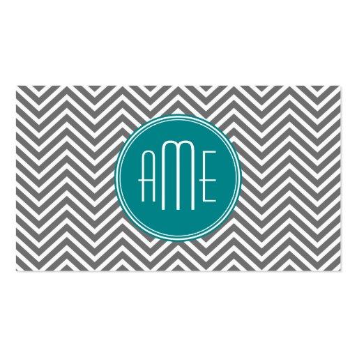 Teal Charcoal Chevrons Custom Monogram Business Card Template