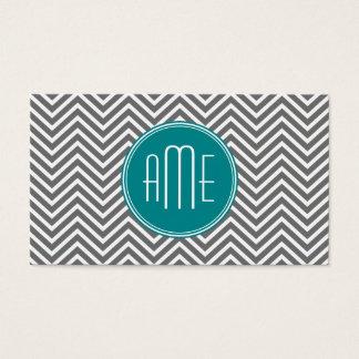 Teal Charcoal Chevrons Custom Monogram Business Card