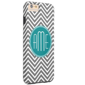 Teal Charcoal Chevrons Custom Monogram Tough iPhone 6 Plus Case