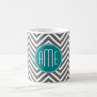 Teal Charcoal Chevrons Custom Monogram Coffee Mug