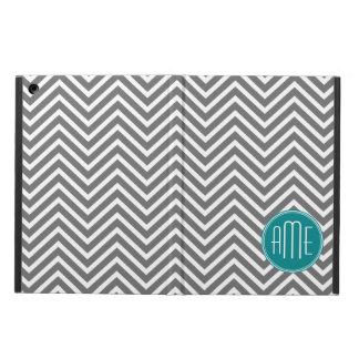 Teal Charcoal Chevrons Custom Monogram Cover For iPad Air