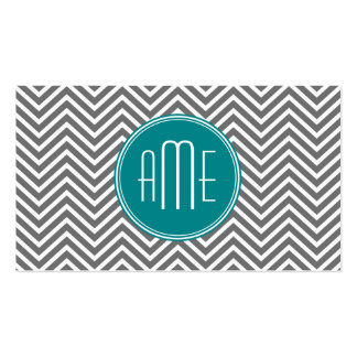 Teal Charcoal Chevrons Custom Monogram Double-Sided Standard Business Cards (Pack Of 100)