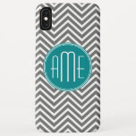 "Teal Charcoal Chevrons Custom Monogram iPhone XS Max Case<br><div class=""desc"">Blue and Gray - A bold art deco pattern in fresh,  cheerful colors. If you need to adjust the monograms,  click on the customize it button and make changes.</div>"