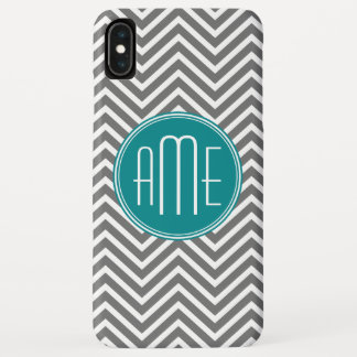 Teal Charcoal Chevrons Custom Monogram iPhone XS Max Case