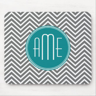 Teal Charcoal Chevrons Custom Monogram Mouse Pad