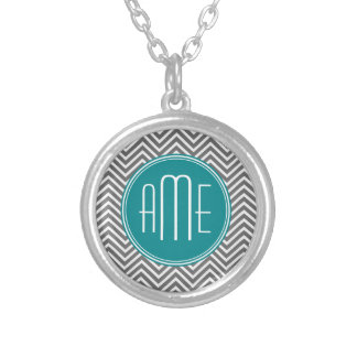 Teal Charcoal Chevrons Custom Monogram Round Pendant Necklace