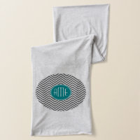 Teal Charcoal Chevrons Custom Monogram Scarf