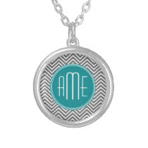 Teal Charcoal Chevrons Custom Monogram Silver Plated Necklace