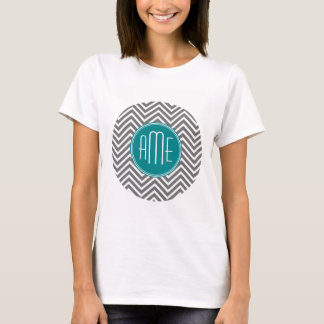 Teal Charcoal Chevrons Custom Monogram T-Shirt