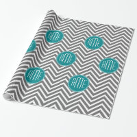 Teal Charcoal Chevrons Custom Monogram Wrapping Paper