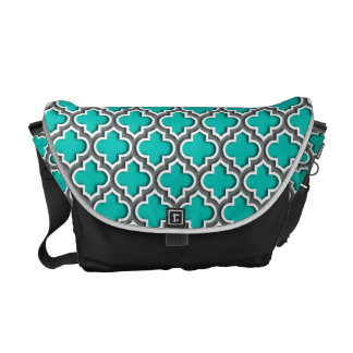 Teal Charcoal Gray White Moroccan Quatrefoil #5DS Courier Bag