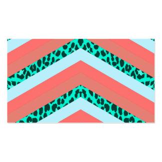 Teal Cheetah Chevron Orange Shades Stripes Print Business Card Templates