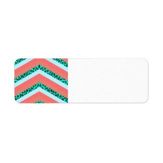 Teal Cheetah Chevron Orange Shades Stripes Print Custom Return Address Labels