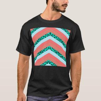 Teal Cheetah Chevron Orange Shades Stripes Print T-Shirt