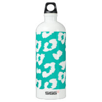 Teal Cheetah Leopard Print Water Bottle