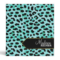 Teal Cheetah Personalized Binder