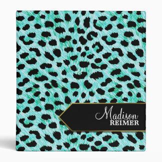 Teal Cheetah Personalized 3 Ring Binders