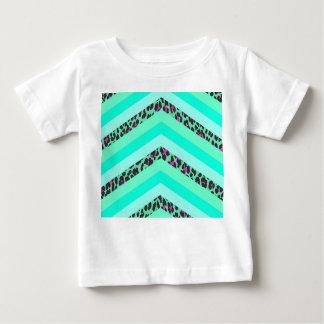 Teal Cheetah Pink Chevron Zizag Stripes Print Baby T-Shirt