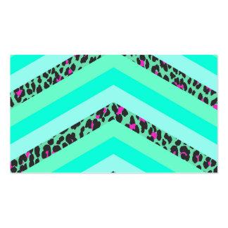 Teal Cheetah Pink Chevron Zizag Stripes Print Business Cards