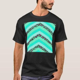 Teal Cheetah Pink Chevron Zizag Stripes Print T-Shirt