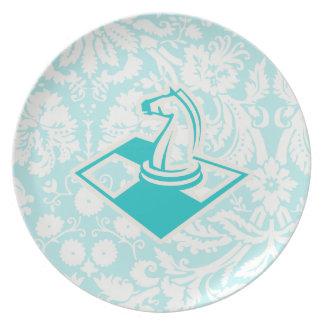 Teal Chess Melamine Plate