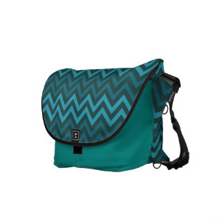 Teal Cheveron Zigzags Messenger Bag