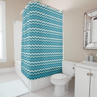 Teal Chevron Shower Curtain