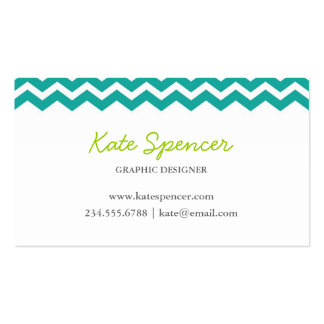Teal Chevron and Polka Dot Double-Sided Standard Business Cards (Pack Of 100)