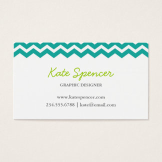 Teal Chevron and Polka Dot Business Card