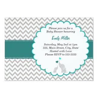 Teal Chevron Baby Shower Flat Card Invitation
