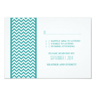 Teal Chevron Border RSVP Card