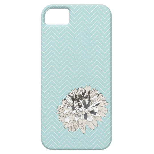 Teal Chevron chrysanthemum pattern iPhone 5 Cover