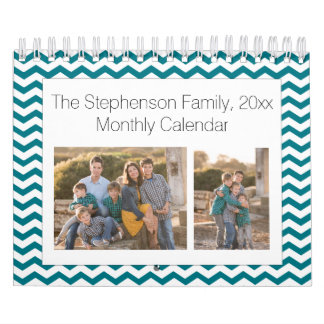 Teal Chevron Custom Photo Collage 24-Image Calendar
