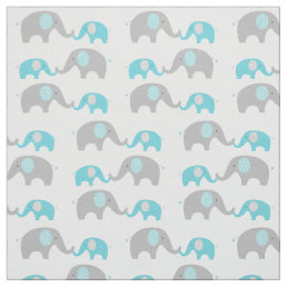 Teal Chevron Elephant Nursery Fabric
