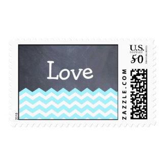 Teal Chevron love Wedding Stamps