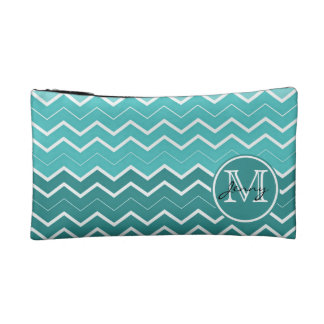 Teal Chevron Monogram Cosmetic Bag