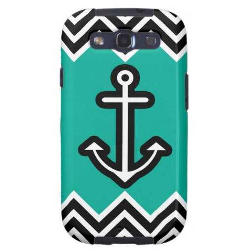 Teal Chevron Nautical Galaxy SIII Cases