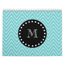Teal Chevron Pattern | Black Monogram Calendar