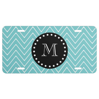Teal Chevron Pattern | Black Monogram License Plate