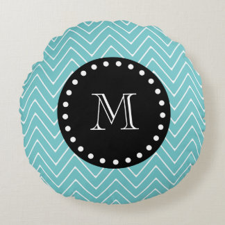 Teal Chevron Pattern | Black Monogram Round Pillow