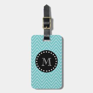 Teal Chevron Pattern | Black Monogram Tag For Bags