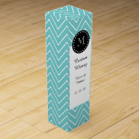 Teal Chevron Pattern | Black Monogram Wine Gift Box