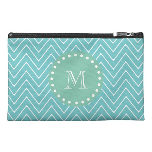 Teal Chevron Pattern | Mint Green Monogram Travel Accessory Bag