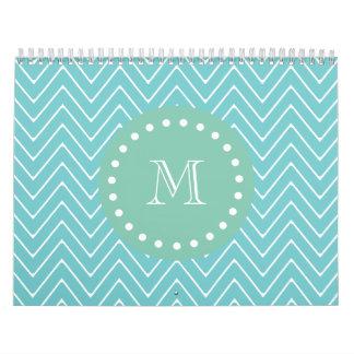 Teal Chevron Pattern | Mint Green Monogram Calendar