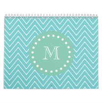 Teal Chevron Pattern | Mint Green Monogram Calendar