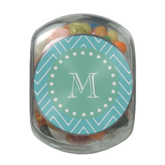 Teal Chevron Pattern | Mint Green Monogram Jelly Belly Candy Jars
