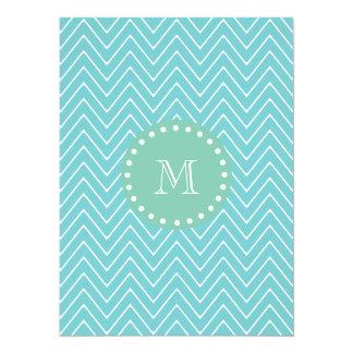 Teal Chevron Pattern | Mint Green Monogram 5.5x7.5 Paper Invitation Card